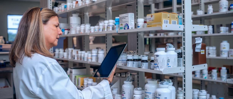 pharmacist on tablet